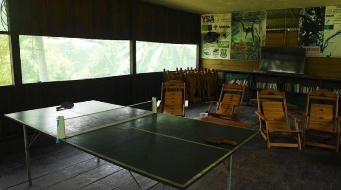 The ping pong table and tv room